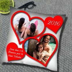 Imaginer un coussin avec deux photos pour la Saint-Valentin